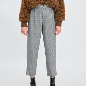 Zara Houndstooth High Waisted Chino Pants